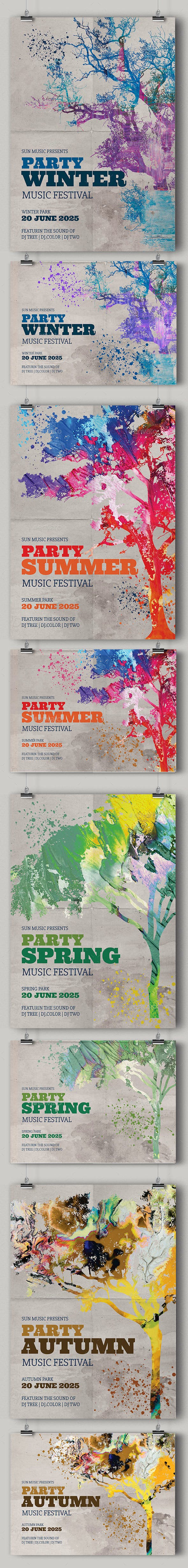 Seasons Party Flyers Kit