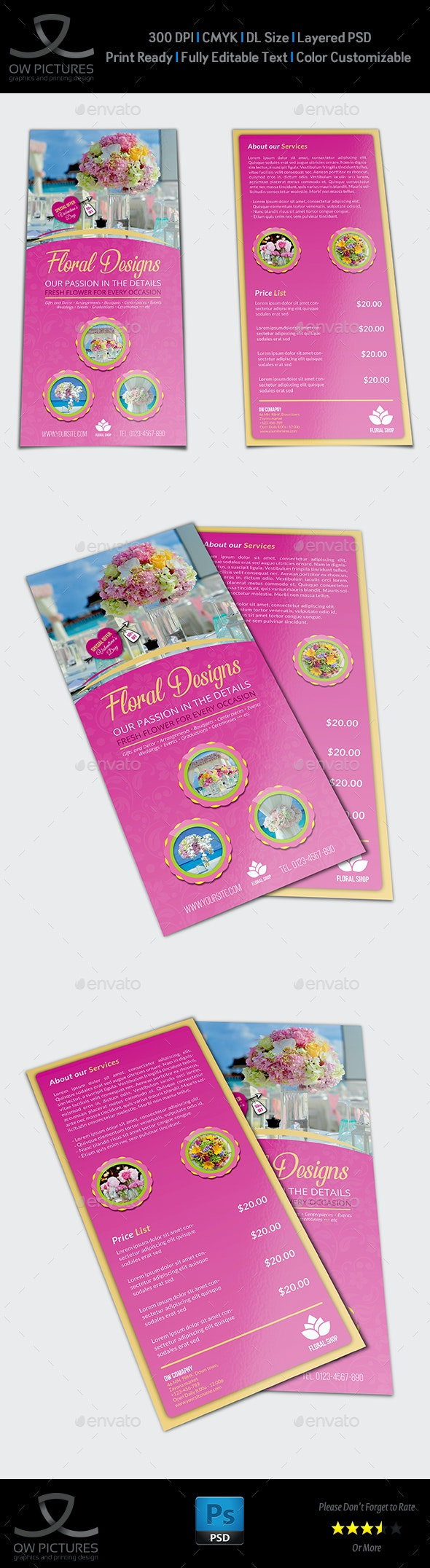 Floral Designs Flyer DL Size Template - Events Flyers