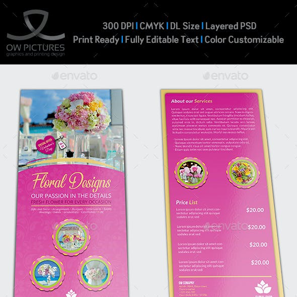 Floral Designs Flyer DL Size Template