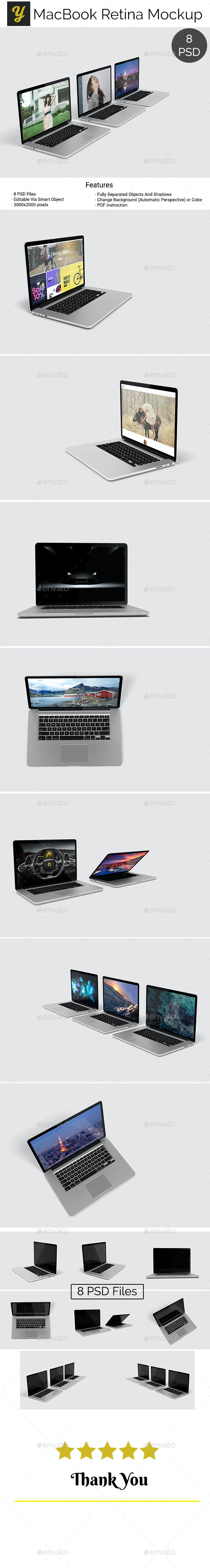 MacBook Retina Mockup - Laptop Displays