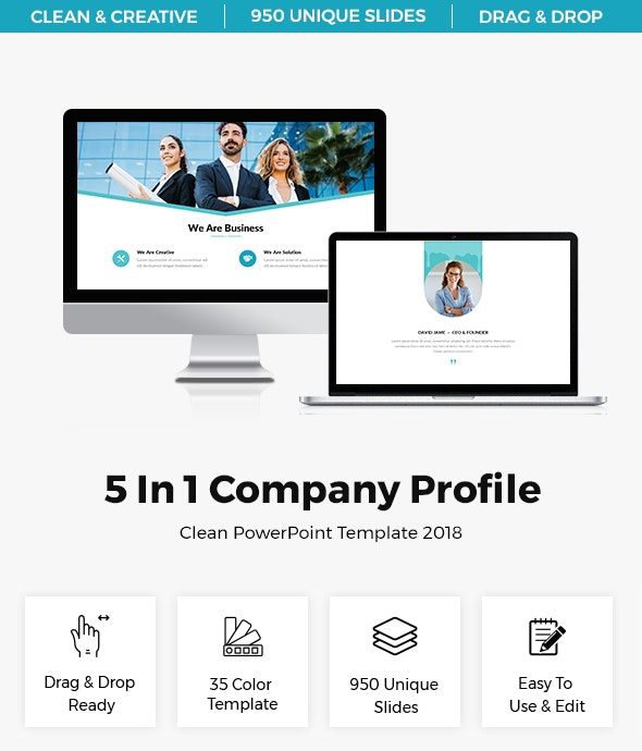 5 In 1 Company Profile PowerPoint Template Bundle - Business PowerPoint Templates