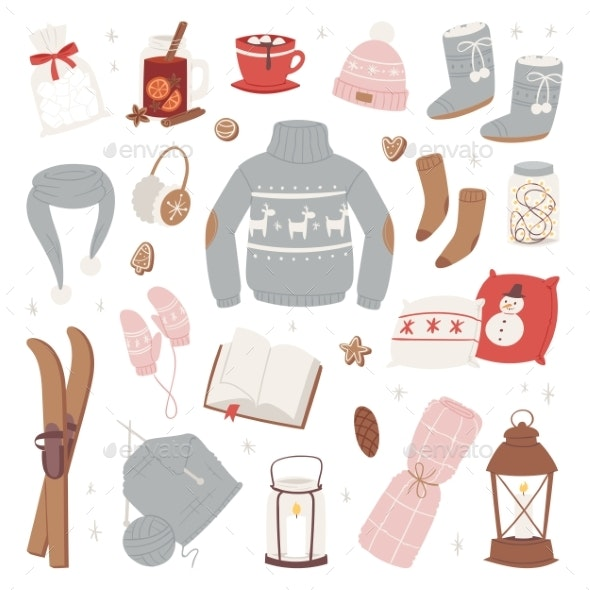 Vector Winter Clothes Warm Set of Hat, Scarf - Man-made Objects Objects