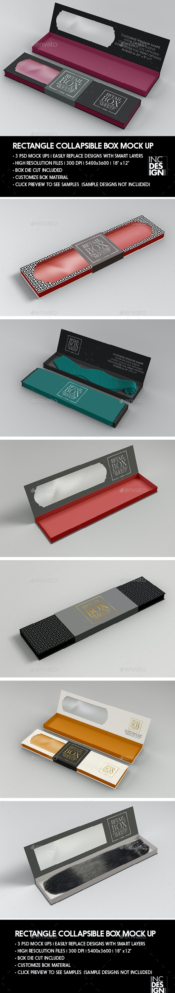 Rectangle Collapsible Box Packaging Mockup - Packaging Product Mock-Ups