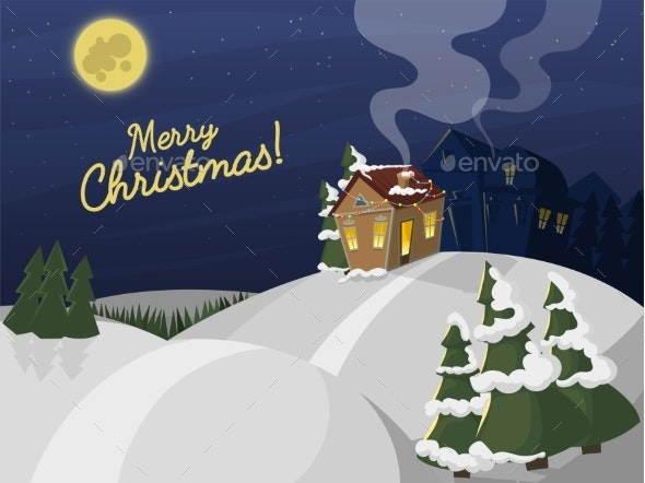 Winter Landscape with Christmas Houses Firtree - Seasons/Holidays Conceptual