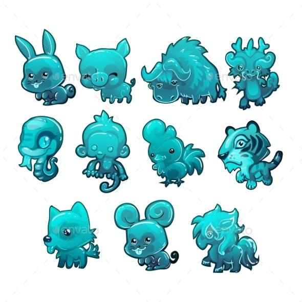 Set Cartoon Ice Figurines of Animals Turquoise - Animals Characters