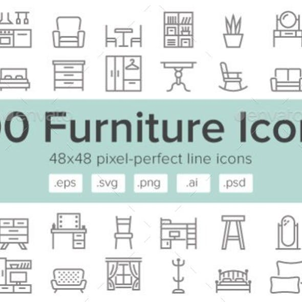 Furniture 100 Line Icons