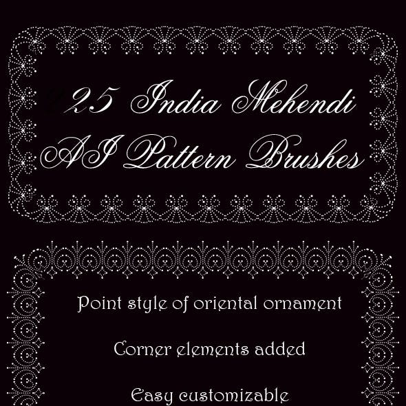 25 India Mehendi Ornament Pattern Brushes - Tears of Allah -  Oriental Motive Openwork Brushes