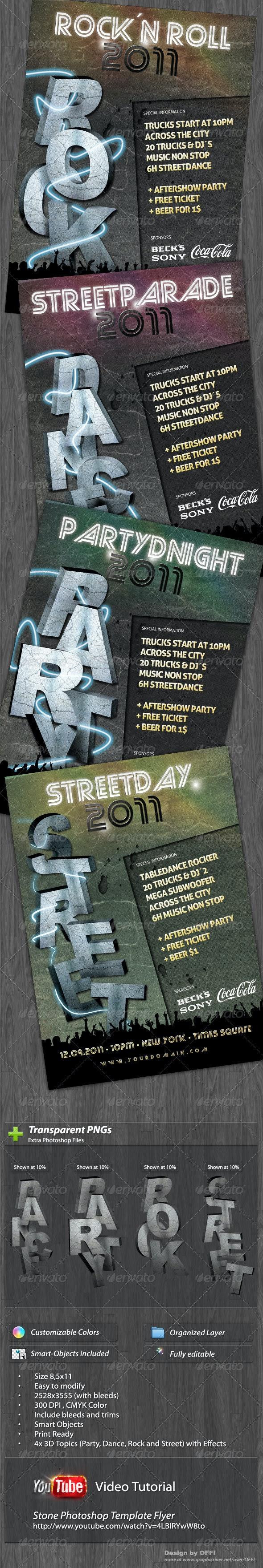 Unique Stone Photoshop Template Flyer - Clubs & Parties Events