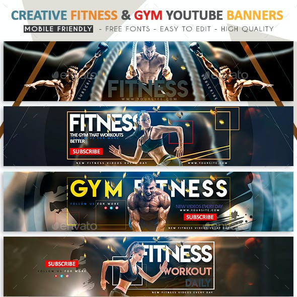 Creative Fitness & Gym YouTube Banner