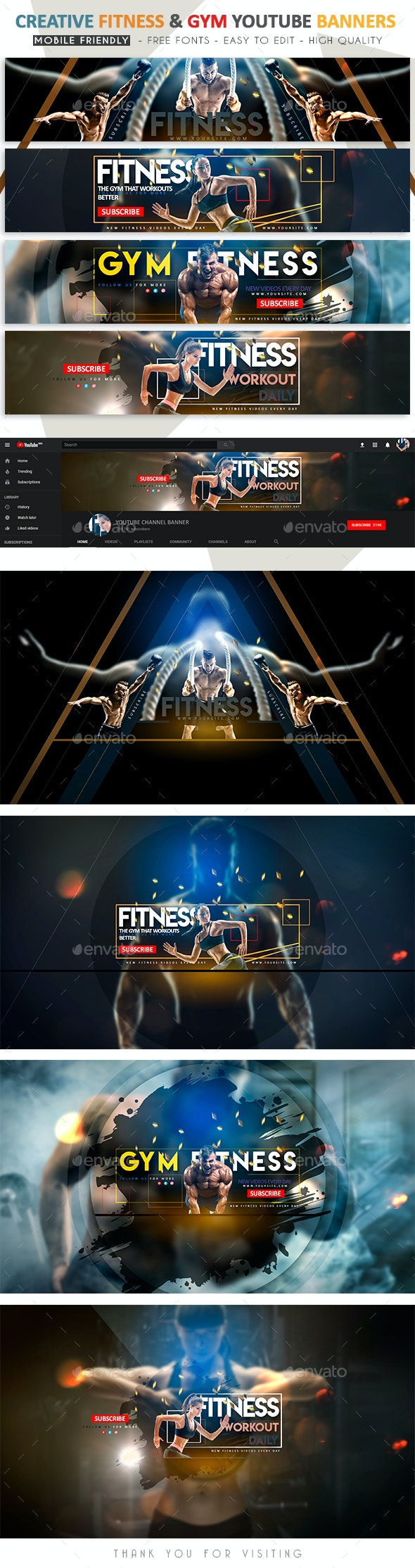 Creative Fitness & Gym YouTube Banner - YouTube Social Media