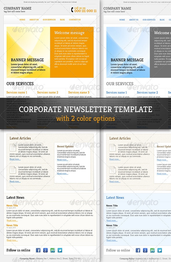 Corporate & Professional Email Newsletter Template - E-newsletters Web Elements