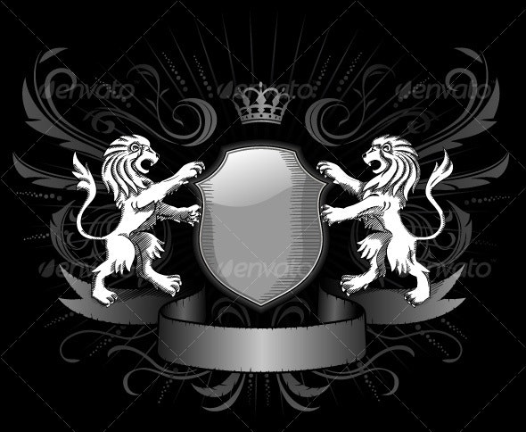 Two Lions, Shield, Black and White Emblem - Backgrounds Decorative