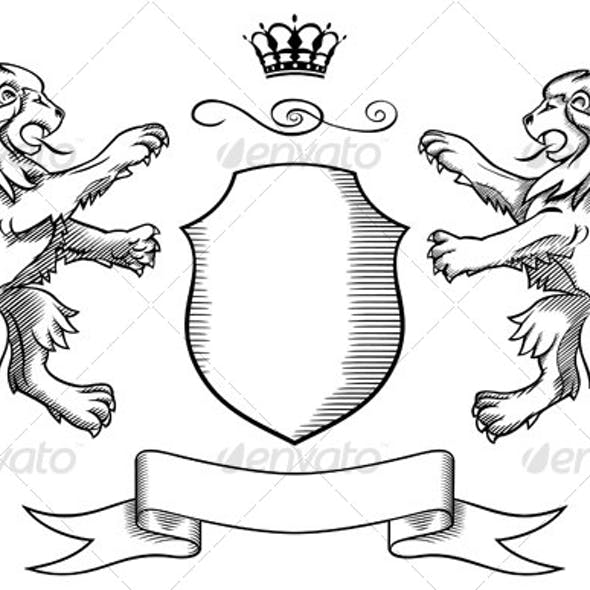 Lions Shield and Crown Insignia
