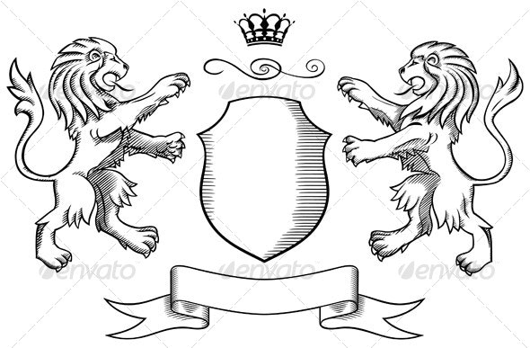 Lions Shield and Crown Insignia - Backgrounds Graphics