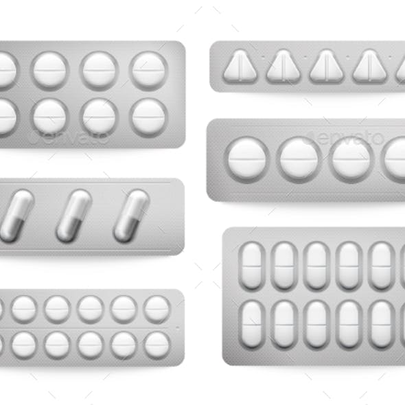 Blister Packs White Paracetamol Pills