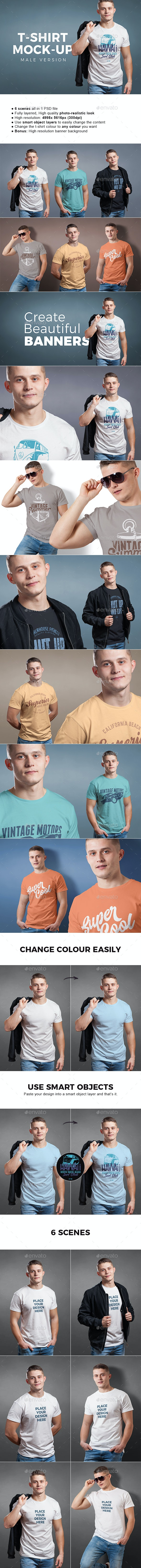 Male T-shirt Mock-up - T-shirts Apparel
