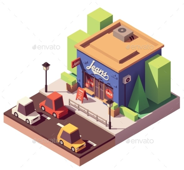 Vector Isometric Jeans Clothes Store - Buildings Objects