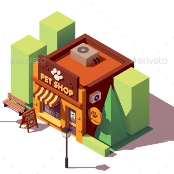 Vector Isometric Pet Store