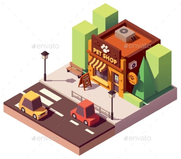 Vector Isometric Pet Store - Buildings Objects