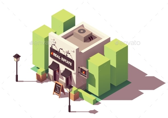 Vector Isometric Real Estate Agency Office - Buildings Objects
