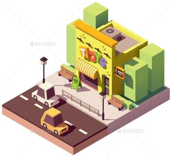 Vector Isometric Toy Store - Buildings Objects