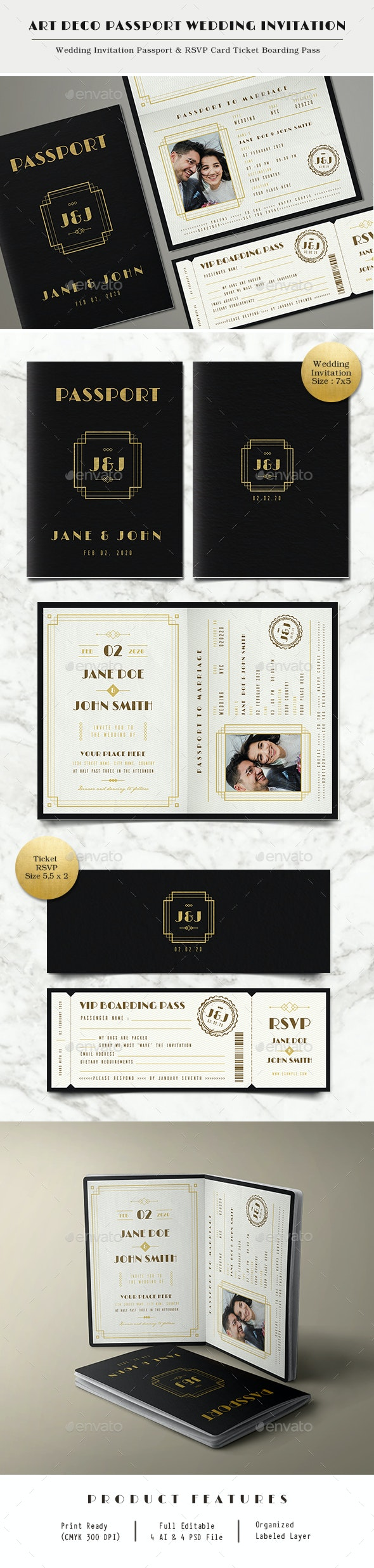 Art Deco Passport Wedding Invitation - Weddings Cards & Invites