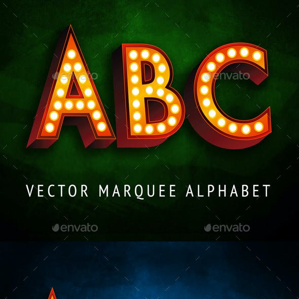 Marquee Vector Alphabet Letters