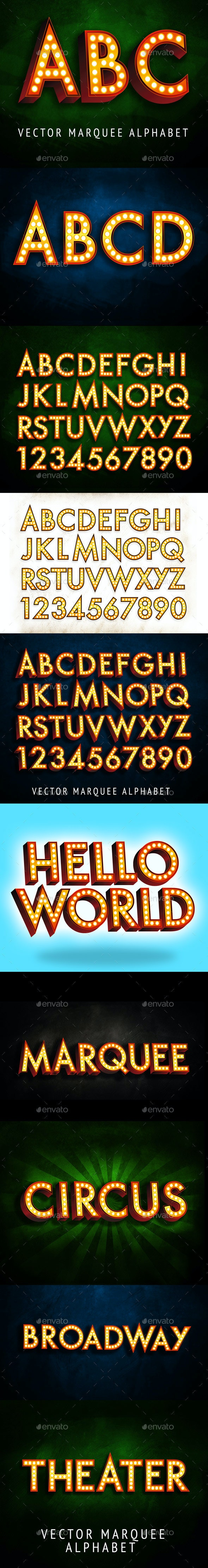 Marquee Vector Alphabet Letters - Characters Illustrations