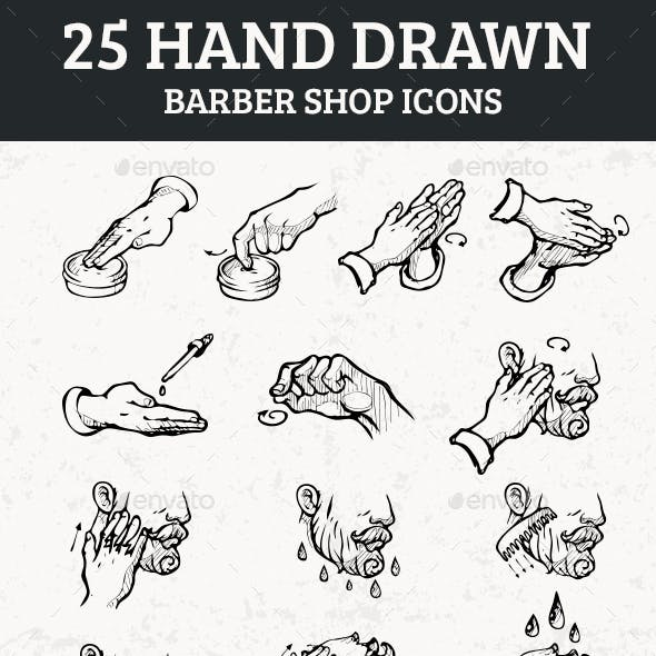 25 Hand Drawn Barber Shop Icons