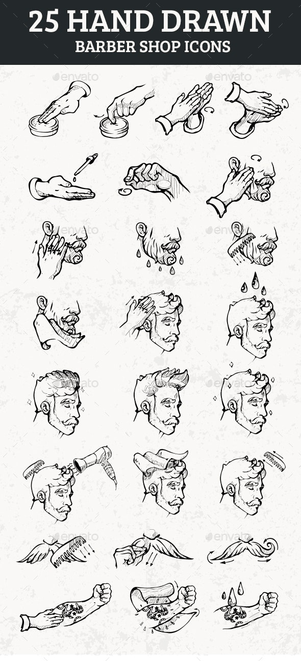 25 Hand Drawn Barber Shop Icons - Man-made Objects Objects