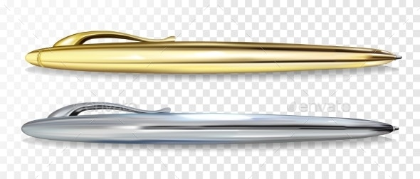 Ballpoint Pen Golen and Silver Vector Illustration - Man-made Objects Objects
