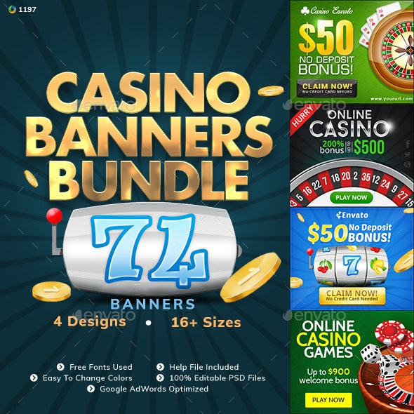 Casino Banner Design  Bundle - 4 Sets - Banners & Ads Web Elements