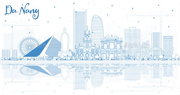 Outline Da Nang Vietnam City Skyline with Blue Buildings and Reflections - Buildings Objects