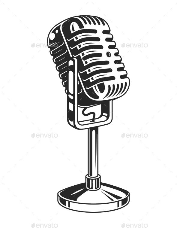 Retro Monochrome Music Microphone Concept - Man-made Objects Objects