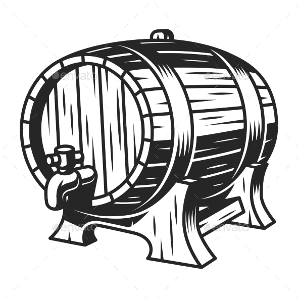 Vintage Beer Wooden Barrel Template - Miscellaneous Vectors