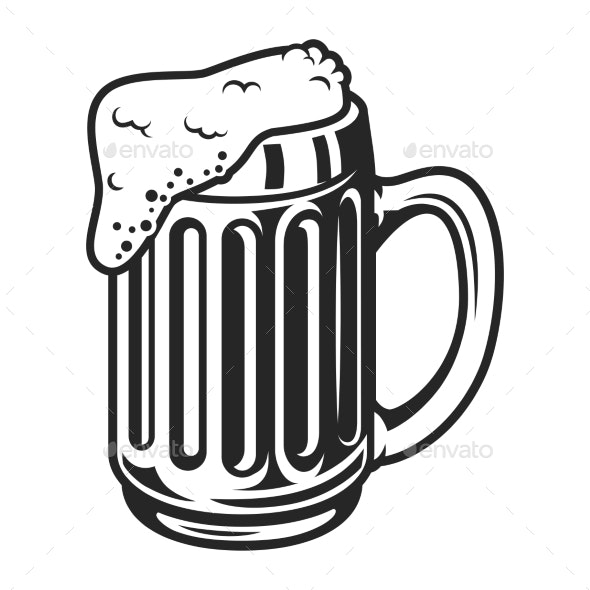 Vintage Monochrome Beer Mug Template - Food Objects