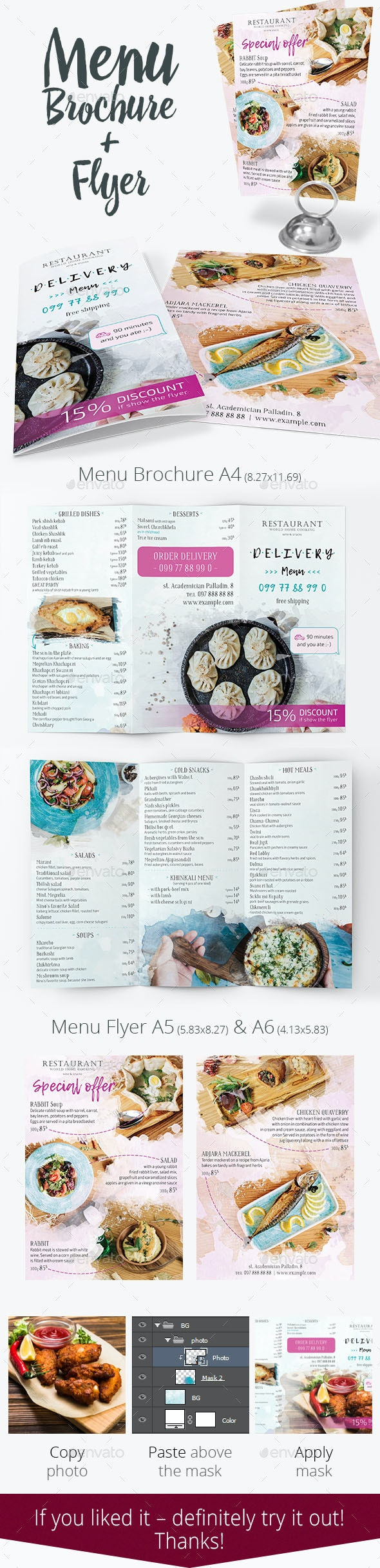 Restaurant Menu Brochure and Flyer - Food Menus Print Templates