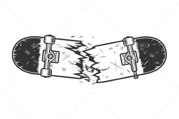 Vintage Monochrome Broken Skateboard Template - Miscellaneous Vectors