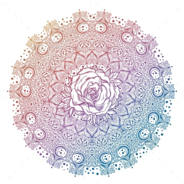 Vintage Bohemian Linear Floral Ornament Mandala - Decorative Symbols Decorative