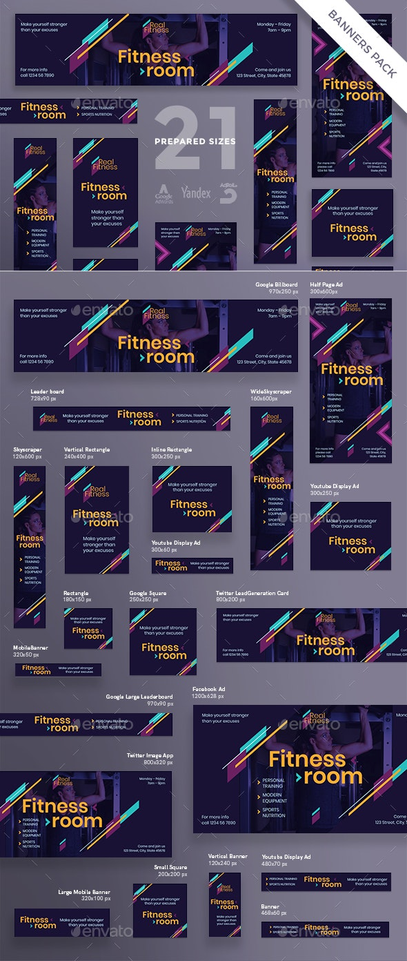 Fitness Gym Banner Pack - Banners & Ads Web Elements