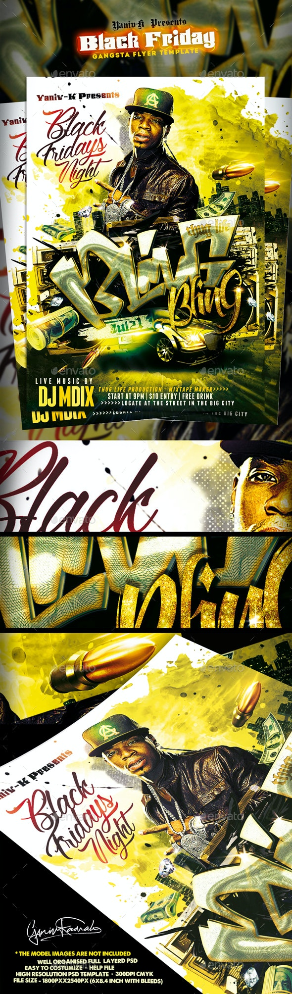 "Black Friday ""Gangsta"" Flyer Template - Flyers Print Templates"