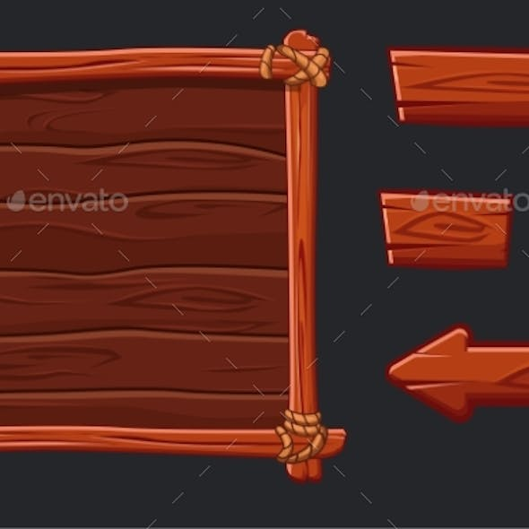 Red Wood Assets Set for Interface and Buttons