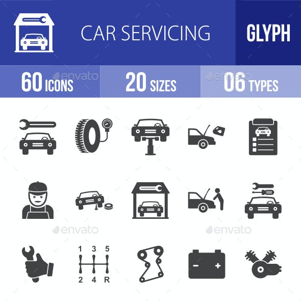 Car Servicing Glyph Icons