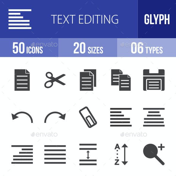 Text Editing Glyph Icons
