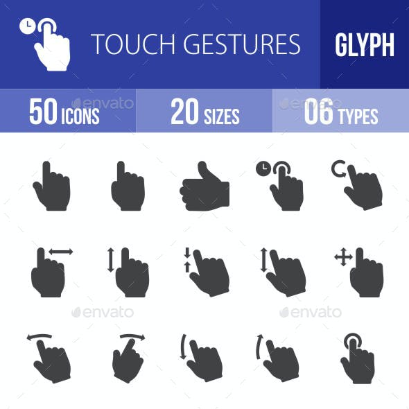 Touch Gestures Glyph Icons