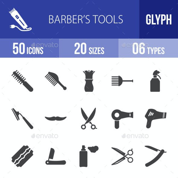 Barber's Tools Glyph Icons