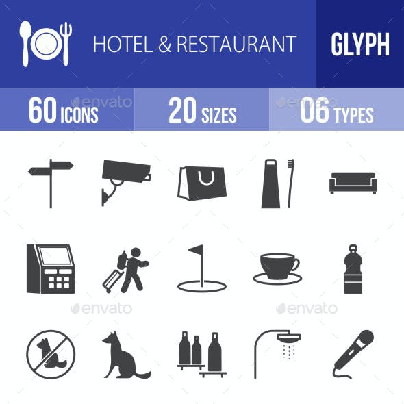 Hotel & Restaurant Glyph Icons