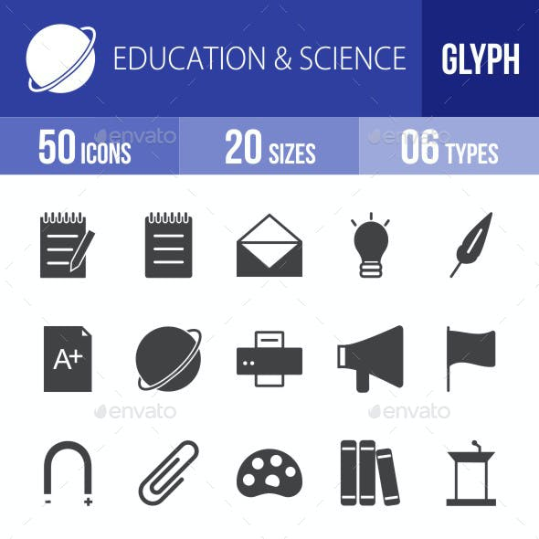 Education & Science Glyph Icons