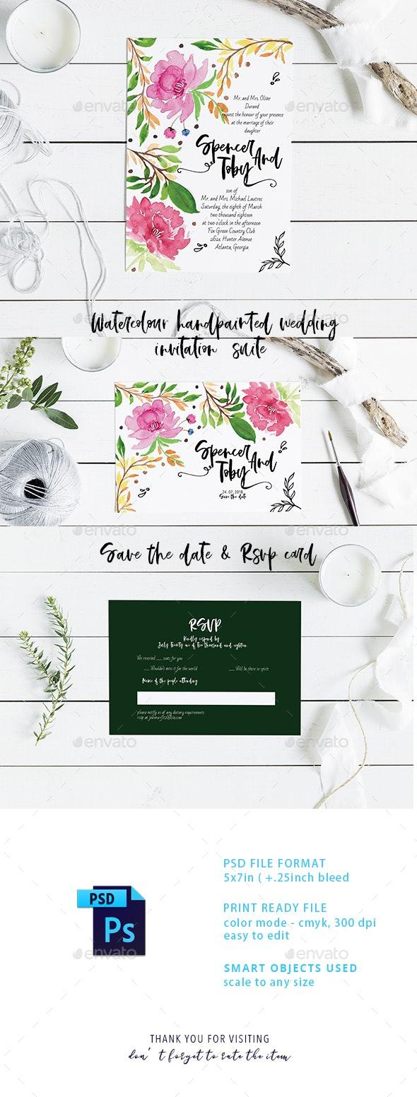 Watercolour Handprinted Wedding Invitation Suite - Weddings Cards & Invites