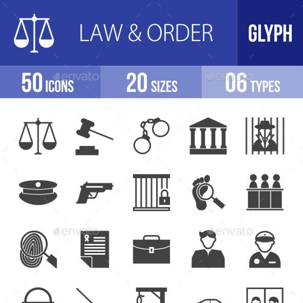 Law & Order Glyph Icons